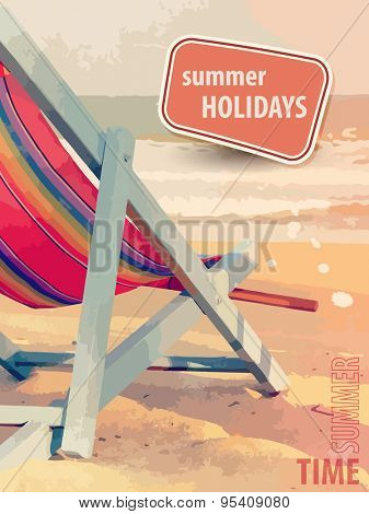 Summer holiday poster with deckchair on the beach in retro style