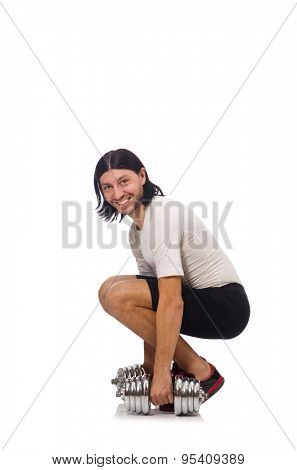 Man exercising with dumbbels isolated on white poster