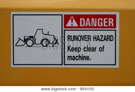 runover hazard sign dangerous when vehicle reverses poster