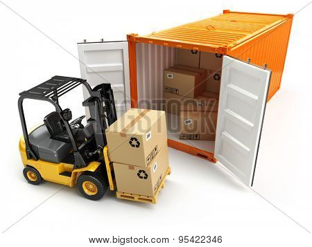 Forklift handling the cargo shipping container box. 3d poster
