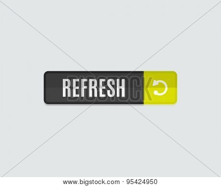 Refresh web button. Modern flat design, paper graphic, website icon and design element poster