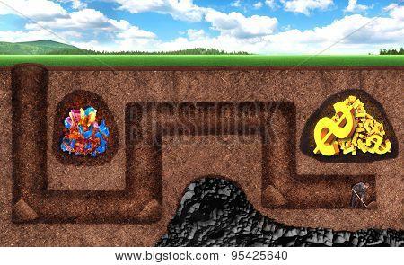 Businessman can't get treasure underground