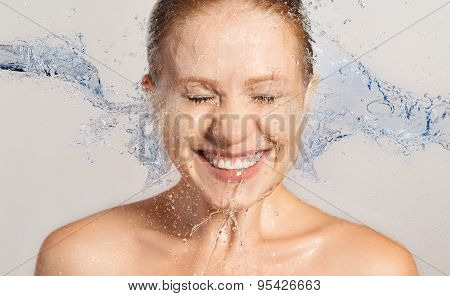 Happy Beauty Woman Skin Care, Washing With Splashes Of Water