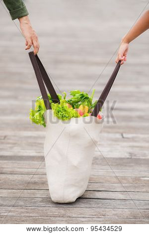 Carrying shopping bag full of groceries