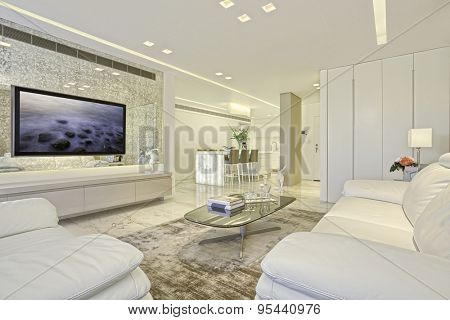 Luxury Modern Living Room With White Leather Furniture