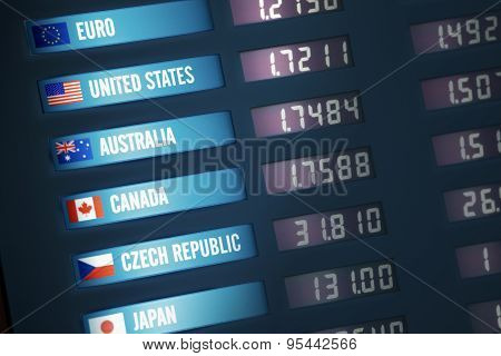 Illuminated currency exchange board showing exchange rates for various countries and currencies. poster