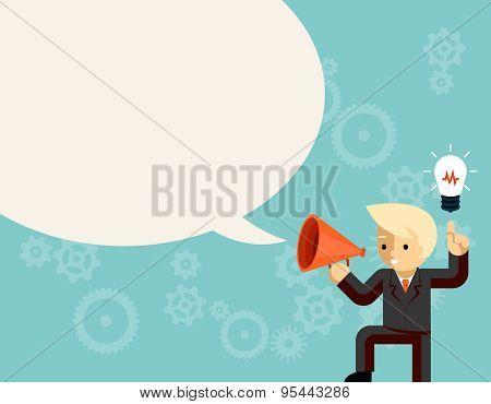 Businessman with megaphone speaking idea speech bubble