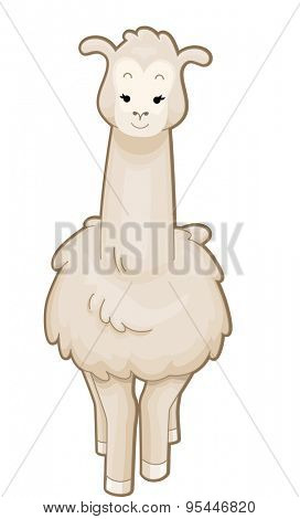 Cutesy Illustration of a Llama Standing Gracefully poster