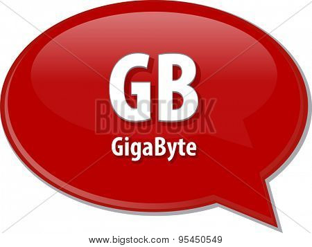 Speech bubble illustration of information technology acronym abbreviation term definition GB gigabyte