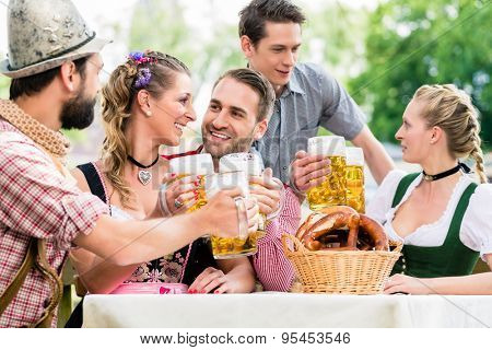 Friends in Bavarian beer garden drinking in summer