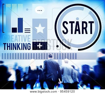 Start Begining Forward Direction Motivation Concept poster