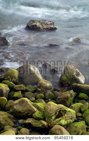 View of a shingle beach in Madeira, Portugal. poster