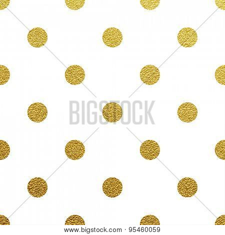 Gold glittering polka dot seamless pattern on white background.