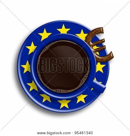 Coffee In European Union Flag Cup With Euro Cookie Isolated Over White