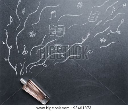 fragrance bottle with drowing smell on the blackboard from the top view beauty concept poster