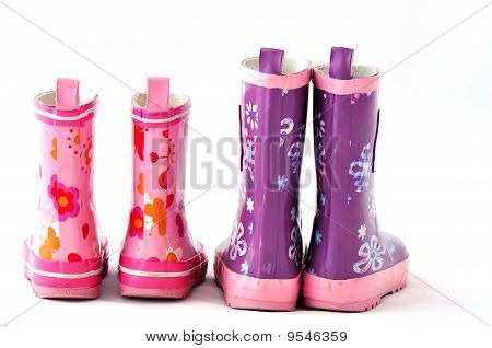 two pair rain boots