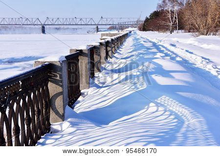 NOVOSIBIRSK, RUSSIA - JANUARY 23, 2015: Embankment of Ob river in the park