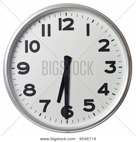 Clock showing Half past six on white background poster