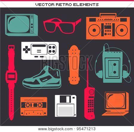 Retro 80 vintage elements set collection