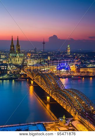 Aerial view on Cologne at dusk