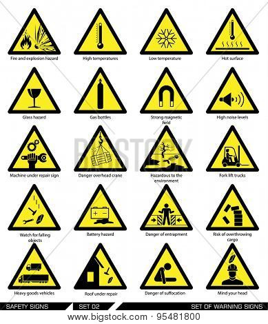 Set of safety signs. Caution signs. Collection of warning signs. Vector illustration. Signs of danger. Signs of alerts.