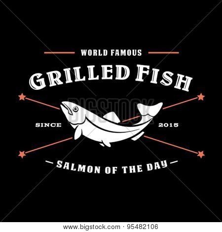 Vintage Retro Grilled Fish, Salmon of the Day Seal