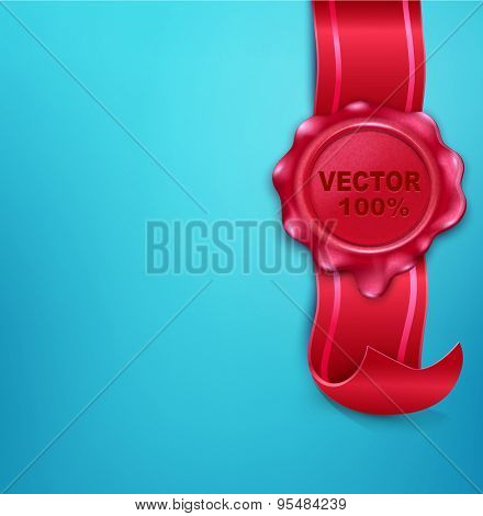 vector wax seal with a ribbon on a blue background