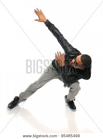 African American hip hop dancer performing isolated over white background poster