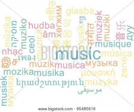 Background concept wordcloud multilanguage international many language illustration of music