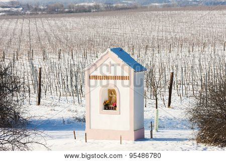 God's torture near Hnanice with winter vineyard, Southern Moravia, Czech Republic