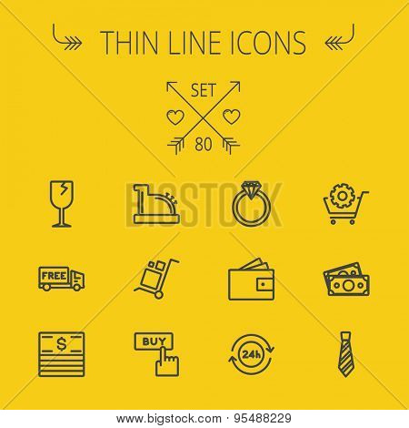 Business shopping thin line icon set for web and mobile. Set includes- broken glass wine, free delivery van, stack of money, vintage cash register, trolley, diamond ring, 24 hrs service, necktie icons