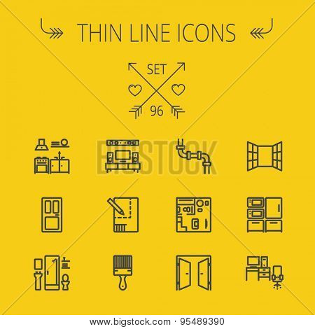Construction thin line icon set for web and mobile. Set includes- pipeline, structure, door, window, appliances, furnitures, interiors, paintbrush. Modern minimalistic flat design. Vector dark grey