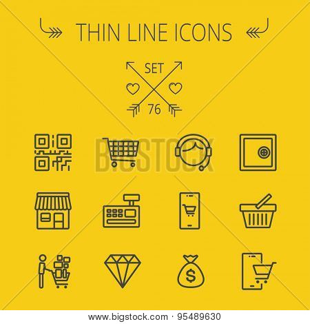 Business shopping thin line icon set for web and mobile. Set includes- shopping cart, cash register machine, customer service, QR code, store stall, safe, vault, shopping basket icons. Modern