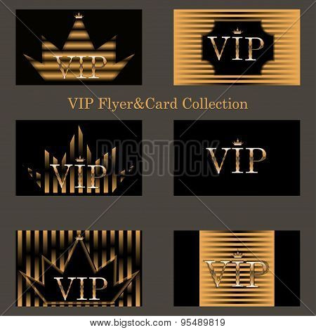 vector set of VIP cards with golden foil