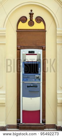 Without people Modern indoor automatic teller machine at a bank, indoor