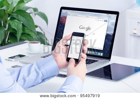 Google Search On Apple Iphone Screen And Macbook Pro Display Multi Devices Concept