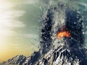 3D render of an exploding volcano poster
