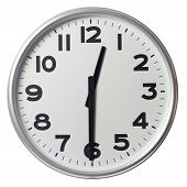 Clock showing half past twelve on white background poster