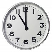 Clock showing Eleven O'Clock on white background poster
