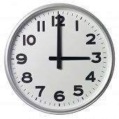 Clock showing Three O'Clock on white background poster