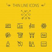 Education thin line icon set for web and mobile. Set includes- alphabet, music note, paint, cheering, math, painting atom icons. Modern minimalistic flat design. Vector dark grey icon on yellow poster