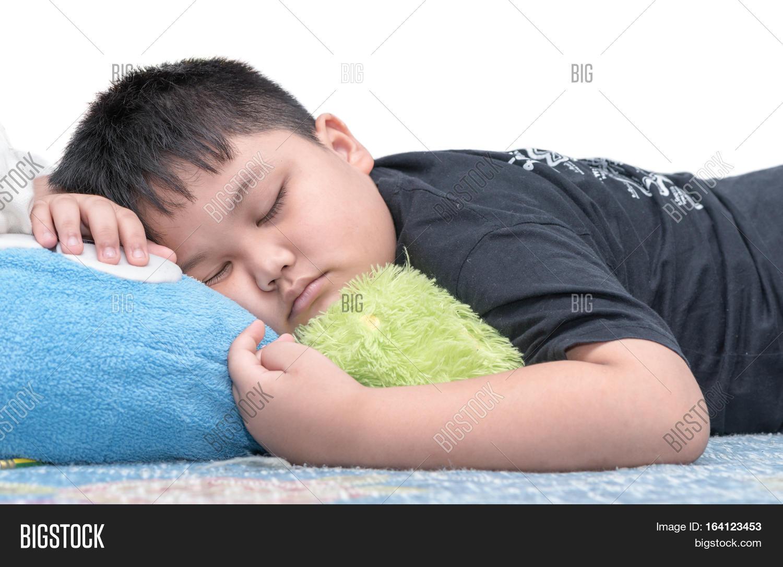 Fat boy sleep isolated on white