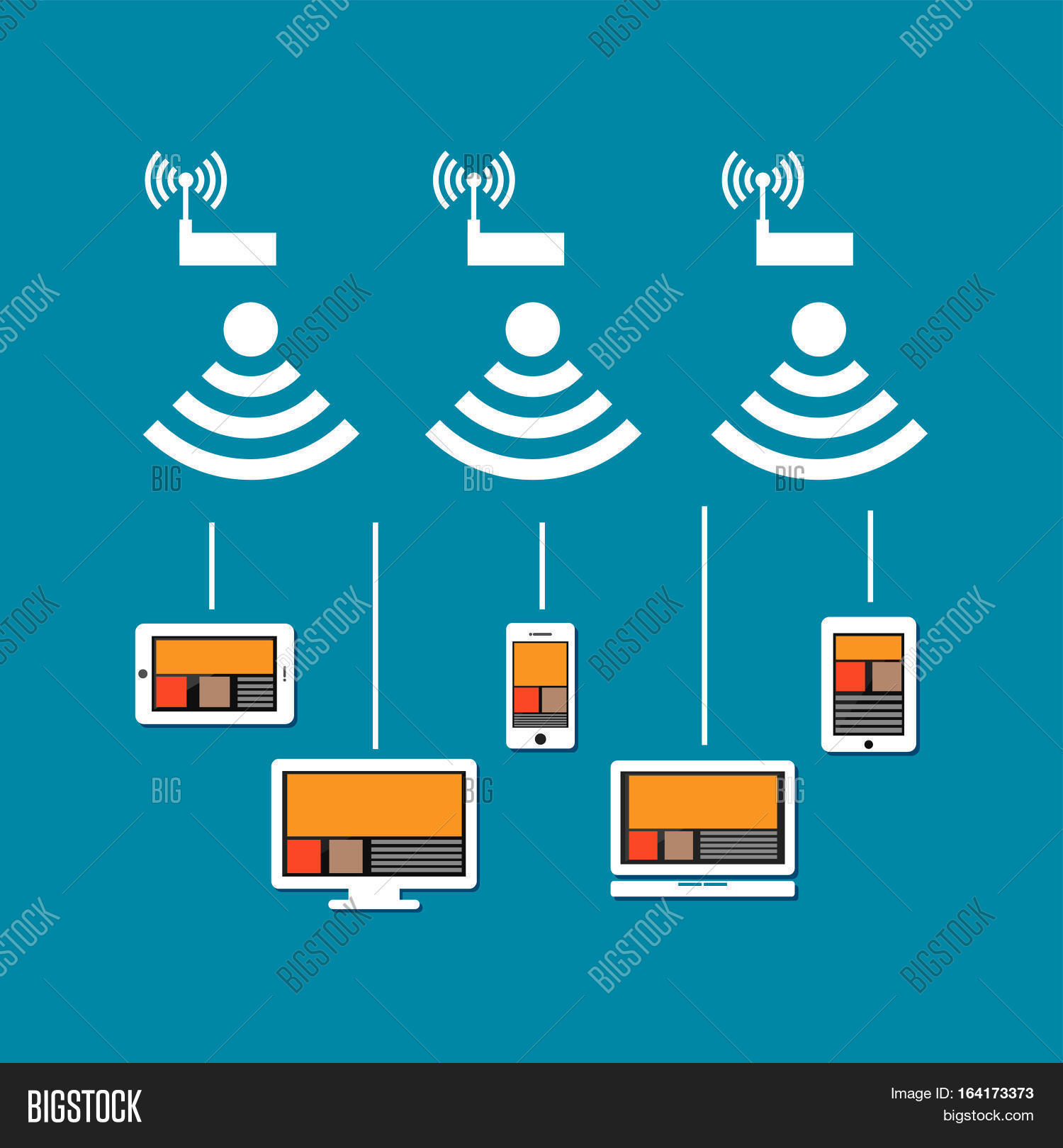 Wireless Network Vector Photo Free Trial Bigstock Connection Diagram Concept Communication On Devices Connect To Cloud Internet Using