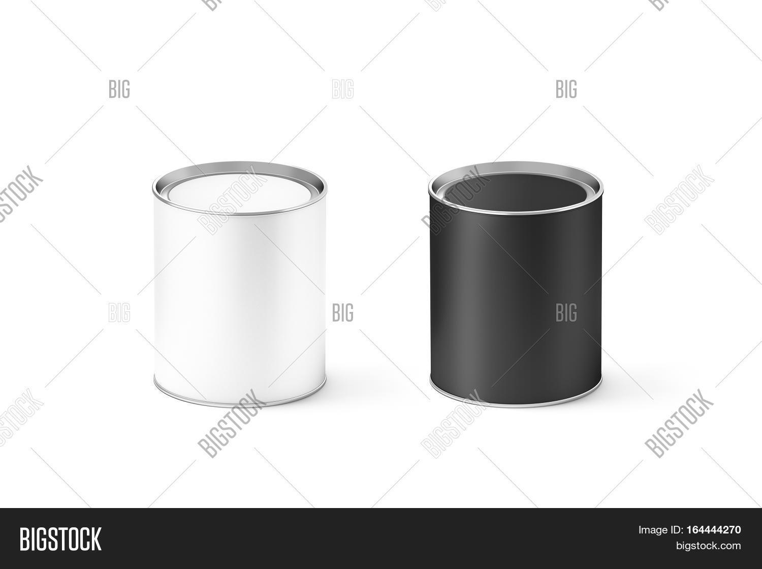 Blank black white cylinder tin can image photo bigstock for Cylinder packaging template