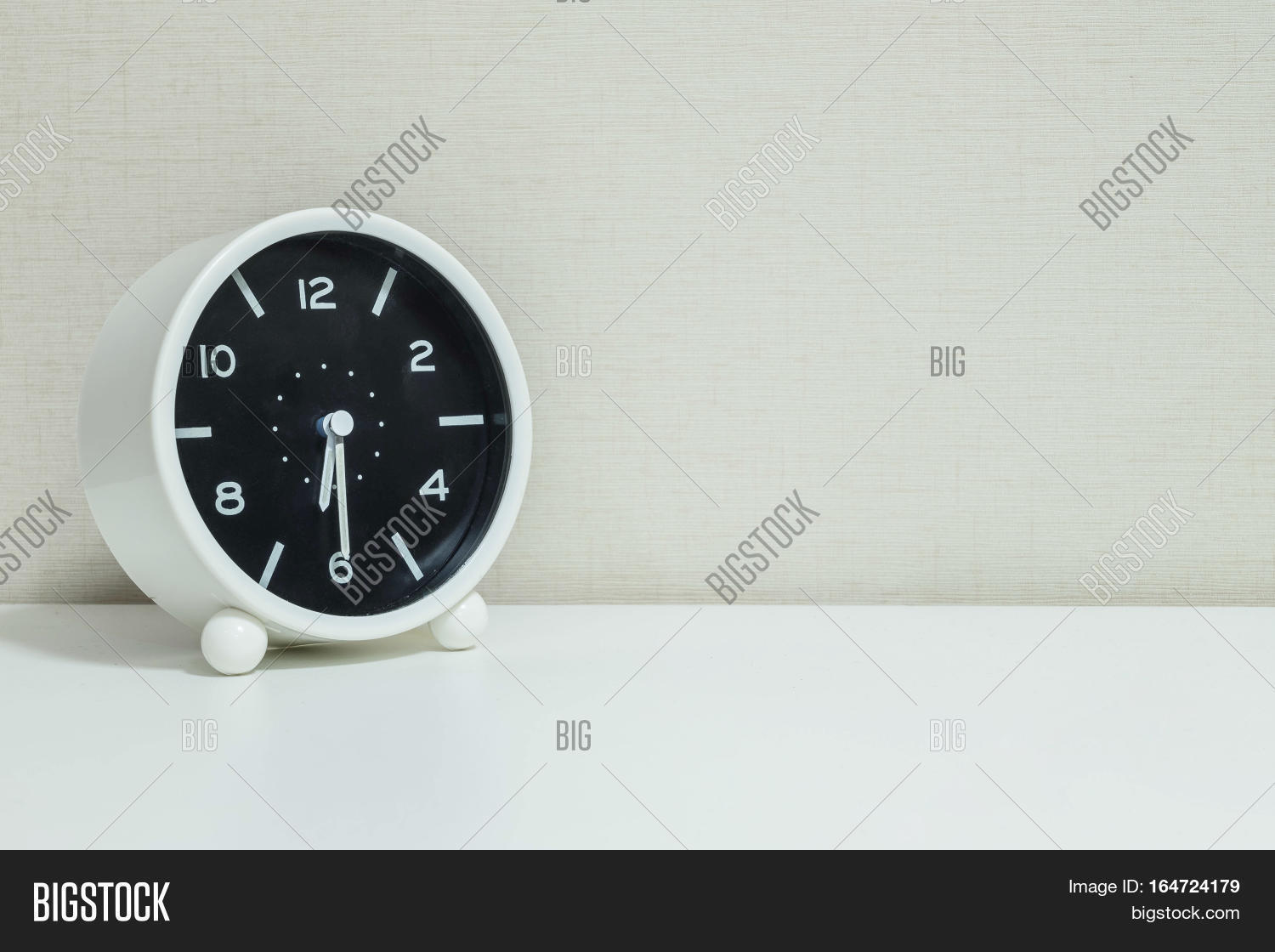 Closeup Black And White Alarm Clock For Decorate Show Half Past Six Or 6