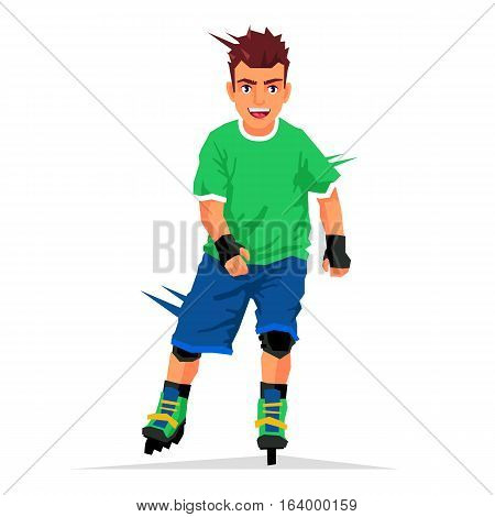 Cool handsome guy rides on roller skates. Vector illustration on white background. Sports concept.