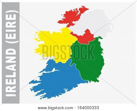 Colorful Ireland, Eire administrative and political vector map