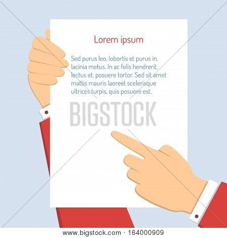 Businessman holds a vertical blank paper and points a finger at a document. Vector business concept illustration in flat design with text.