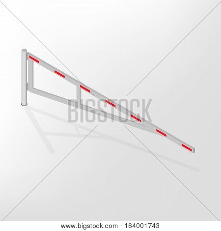 Mechanical barrier isolated on white background. Crossbar for opening and closing the way at level crossings. Flat 3D isometric style vector illustration.