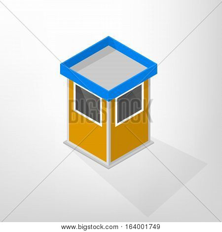 Security lodges isolated on a white background. Flat 3D isometric style vector illustration.